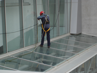 Glass repairs on the job